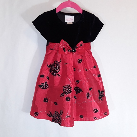La Princess Other - Little Girl La Princess Red and Black Velvet Dress